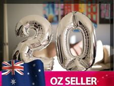 """Silver Foil Helium number balloon - 20th Brithday Party 40"""" inch 100cm AUS STOCK"""