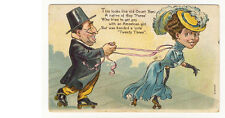 1908 ROLLER SKATING FRENCHMAN & LADY SKATE POSTCARD PC3