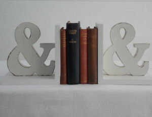 "Shabby Chic Vintage Style Ampersand ""&"" Sign Bookends Home Decor Perfect Gift"