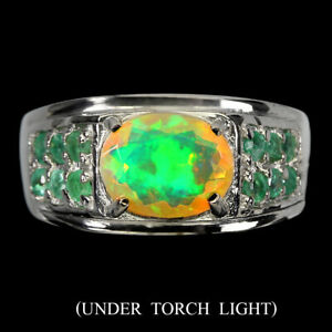 Unheated Oval Fire Opal Rainbow 9x7mm Emerald 925 Sterling Silver Ring Size 8