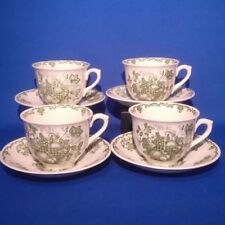 Green Pottery Cups & Saucers