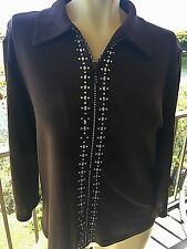 Blouse Sweater by TRESOR Rhinestone Zipper 3/4 Sleeves Brown Khaki Large
