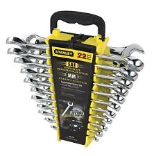 Stanley METRIC/AF COMBINATION WRENCH SET w/ Fine-Toothed Racheting, 22pcs