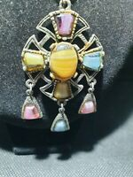 Vintage silver tone Celtic Cross mixed agate Pendant necklace ,pink,yellow blue