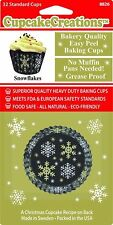 Snowflake Paper Cupcake Cases Christmas Baking Cups Cases Standard Size 32 pack