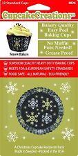 Navidad Copo De Nieve Papel Magdalena Cajas Tazas De La Hornada Casos de tamaño estándar paquete de 32
