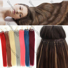 """14-26""""Easy Loop Micro Rings Beads Ombre Remy Human Hair Extensions Straight 100s"""
