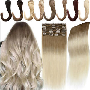 Full Head Thick Clip In HUMAN Hair Extensions 100% Remy Hair 8pcs Double Weft US