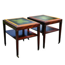 Antique Pair of Neo Classical Walnut Leather Top End Tables by Ferguson