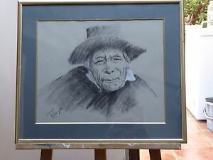 CHARCOAL DRAWING A OLD MAN LISTED ARTIST FRANCO MATANIA  FREE SHIPPING ENGLAND