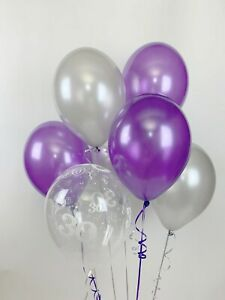 30 Purple, Silver and 30th Aged Range Pearlised Latex Balloons