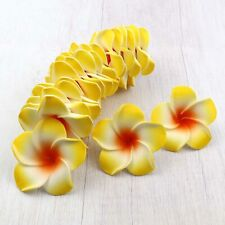 100X Yellow Floating Frangipani Plumeria Hawaiian Flower Heads Wedding -5/6/9cm