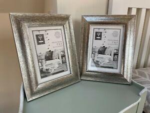 "Pr Silver Photo Frames 2 Shabby Chic 5x7"" Distressed"