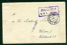 "1918 Hungary Naval cover, ship ""ADRIA"" boxed purple cxl"