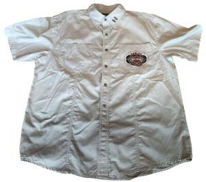 Men's Gray Harley-Davidson Motor Clothes Shirt Large Short Sleeve Snap Up