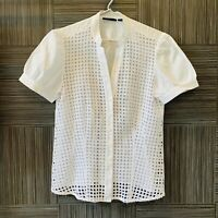 Gordon Smith Womens White Short Sleeve Lace Front Button Up Blouse Size 10