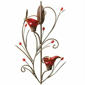 Ruby Blossom Tealight Sconce Red Calla Lily Wall Candle Holder New