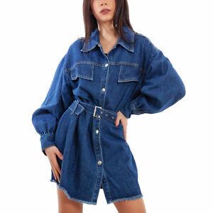 Giacca jeans donna oversize giacchetto giubbotto lungo cinta TOOCOOL VI-19219