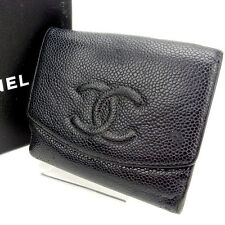 Chanel Wallet Purse Folding wallet COCO Black Woman Authentic Used Y791
