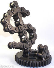 Hand Crafted Recycled Metal Dollar Sign Business Card Holder Desk Art Sculpture