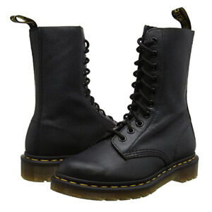 Dr Martens 1490 Virginia 10 Eye Leather High Boots Black Ladies Shoes