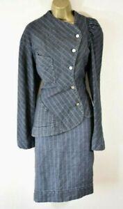 VIVIENNE WESTWOOD 46 Striped Deconstructed Asymmetric Jacket & Skirt Suit