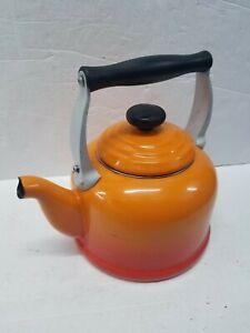 Le Creuset Volcanic Orange Large Cast Iron Stove Top Tea Kettle 2.1 Litres
