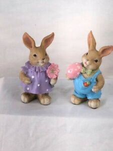 New Easter Collection Figurine 4.8 inchs Resin Standing Spring Bunny Set Of 2