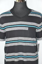 Tony Hawk Mens XL Black Blue Gray Striped V-Neck Front Pocket NEW T-Shirt