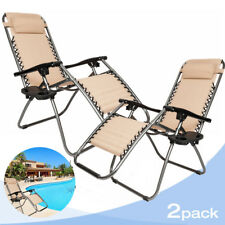 Zero Gravity Chairs Case Of (2) Tan Lounge Patio Chairs Outdoor Yard Beach New