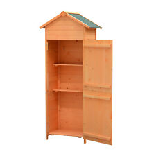 Outsunny Wooden Garden Shed Apex Storage w/ Shelves Cabinet 190H x 79W x 49Dcm