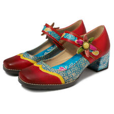 Women Bohemian Vintage Floral Mary Jane Sandals Leather Splicing Block Shoes