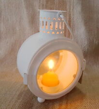 Lantern Clock Shape in Bianco White T-light Iron 12x11x8cm