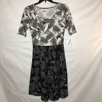 NWT Lularoe Nicole Black And White Tropical Dress Large