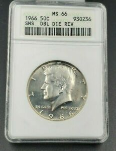 1966 P SMS KENNEDY HALF DOLLAR 50c ANACS MS66 DOUBLE DIE REVERSE DDR