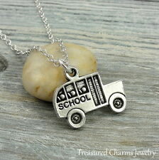 Silver School Bus Charm Necklace - Bus Driver Teacher Back to School Jewelry NEW