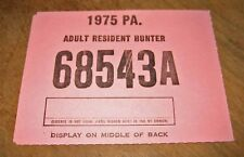 Pennsylvania Adult Resident Hunting License-1975-Main Page Only-No Tags-Unissued