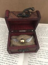 Harry Potter Golden Snitch Necklace In Mini Vintage Trunk Chest Quidditch Fan