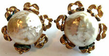 MIRIAM HASKELL FAUX PEARL FLOWER CLIP BACK EARRINGS VINTAGE 40'S Estate Jewelry