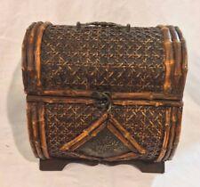 "Stunning  Unusual Antique Wicker /Cane Wood Treasure Chest Box Decor 10 x 9 x 7"""