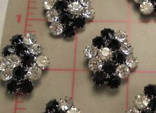 """2 Vintage Large Jet Black & Clear Rhinestone Abstract Czech Shank Button 1-1/4"""""""