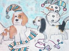 Pbgv in the Snow Original Painting 9x12 Petit Basset Griffon Vendeen Collectible
