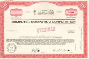 Computek Computing Corporation CCC early tech company stock certificate Tulsa OK