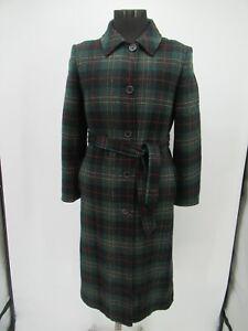 P4332 VTG Women's Pendleton Plaid Long Wool Trench Coat