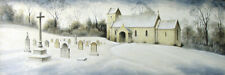 ORIGINAL PAINTING Yorkshire England Church Chapel Cemetary Snow by Randy Souders