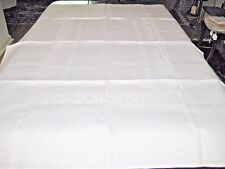 "100% IRISH LINEN DAMASK TABLECLOTH SCROLL CENTER & BORDER - PERFECT 69"" X 51"""