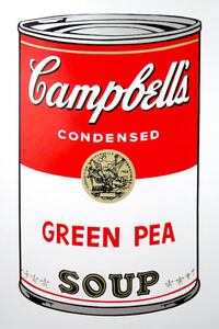 ANDY WARHOL Pop Art - Sunday B Morning - Campbell's Soup Can Green Pea + COA