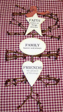 """Rustic Country Wood and Pip Plaque """"Faith Family Friends""""  Inspirational decor"""