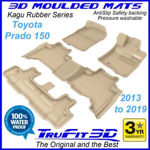 Fits Toyota Land Cruiser Prado 150 2013 - 2021 3D Kagu BEIGE Rubber Floor Mats