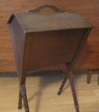 "Sewing Box Stand Knitting Crafts Wood Wooden Chest 26"" Tall Vintage Double Door"